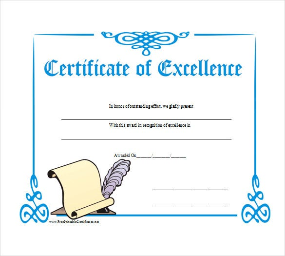 business gift certificate of excellence sample pdf template free download