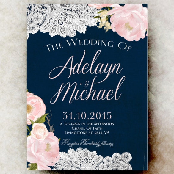 navy blue blush pink country wedding invitation