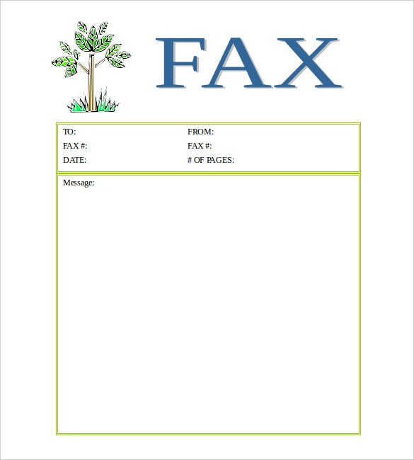 Printable Tree Fax Cover Sheet Word Format  Fax Cover Letters