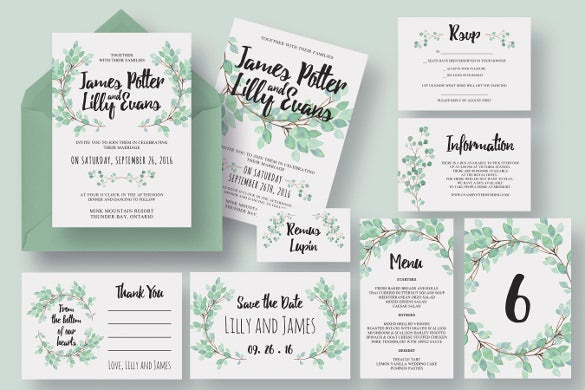 Elegant wedding invitations 30 psd format download for Wedding invitation suite what to include