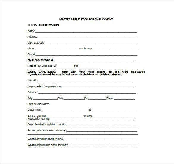 employment application word template
