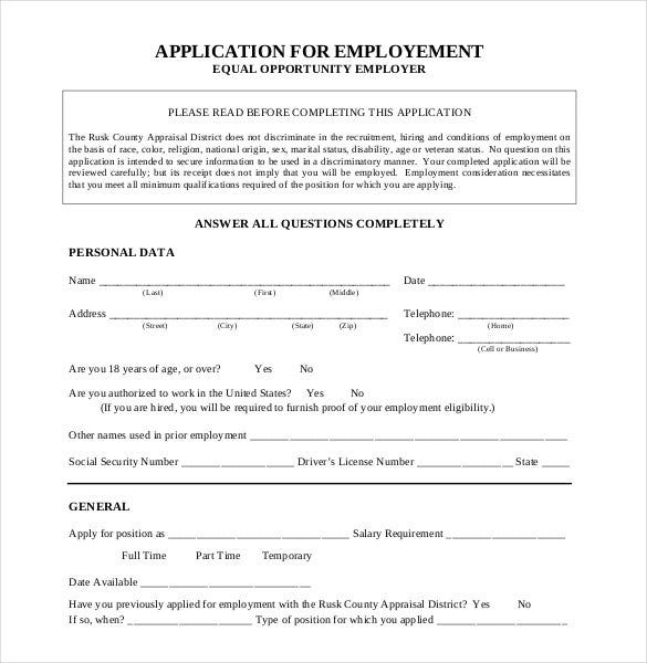 Employment Application Template - 21+ Examples In Pdf, Word | Free