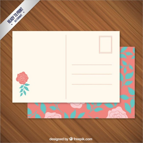 floral post card free template