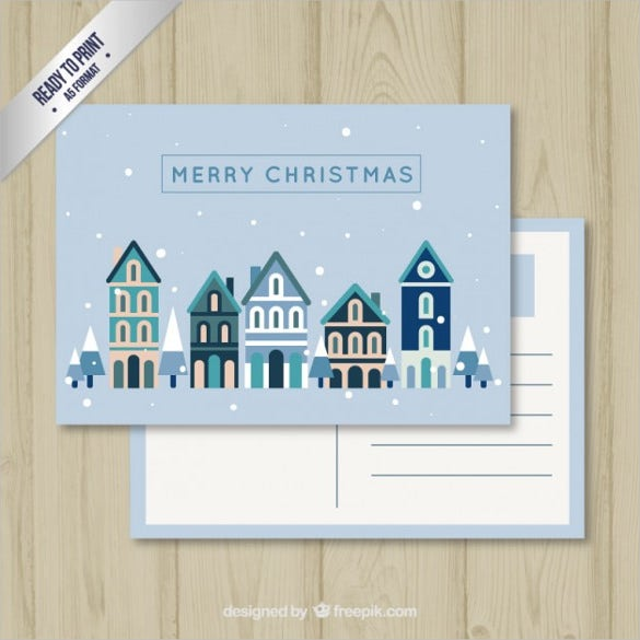 vector blue christmas postcard free