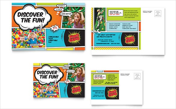 kids club free postcard template