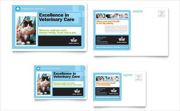 free animal hospital postcard template