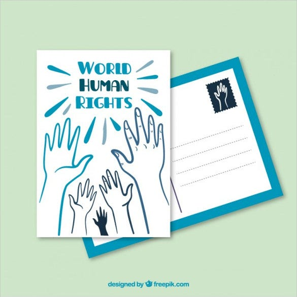 world human rights postcard free vector