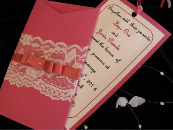 raspberry pocket wedding invitation