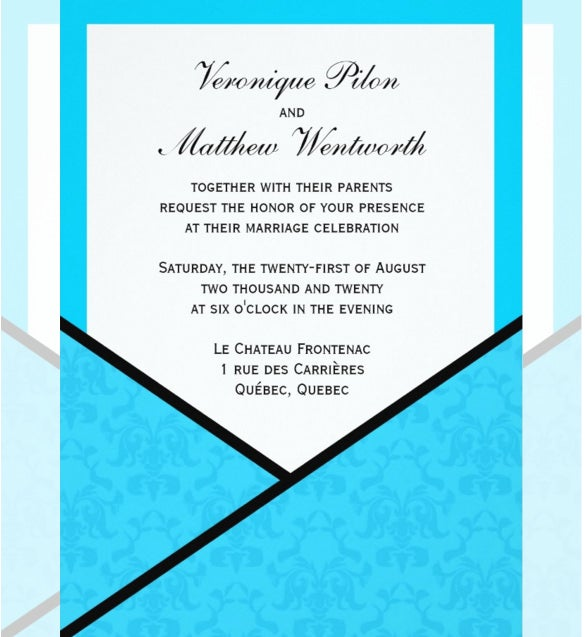 elegant aqua pocket wedding invitation