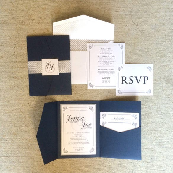 navy and silver vintage pocket wedding invitation