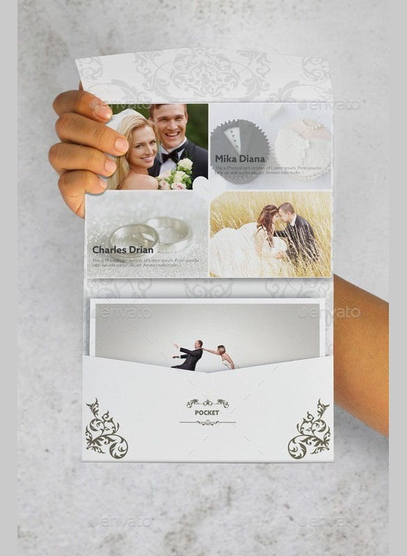postcard pocket wedding invitation with envelope