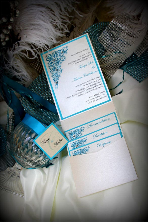 custom pocket wedding invitation