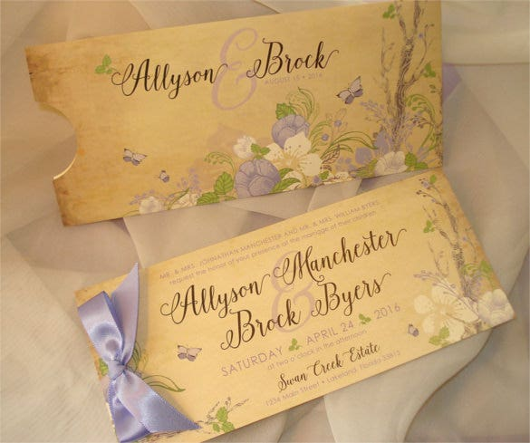 vintage woodland pocket wedding invitation set