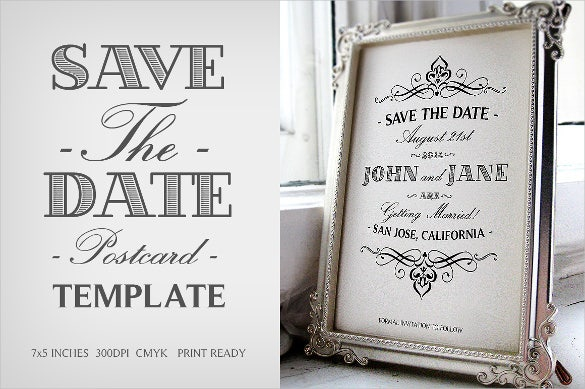 black and white save the date postcard template for spring wedding - Free Save The Date Postcard Templates