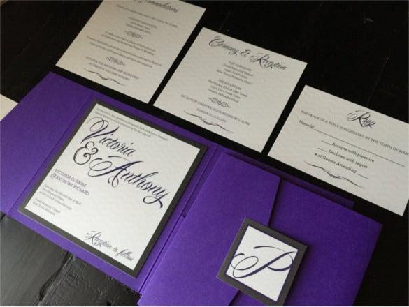 custom pocket wedding invitation purple and silver