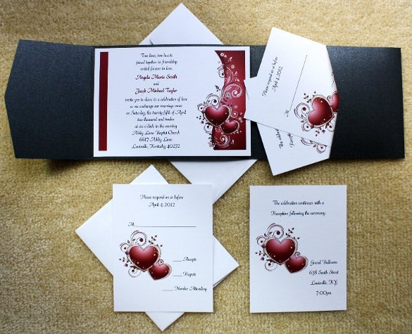 burgundy heart black pocket wedding invitations set