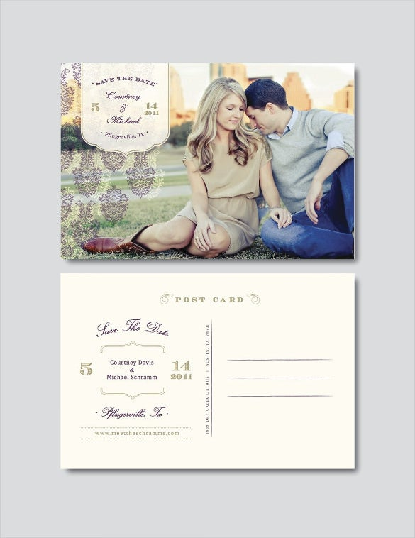 Save the date postcard template 25 free psd vector eps for Free vintage save the date templates
