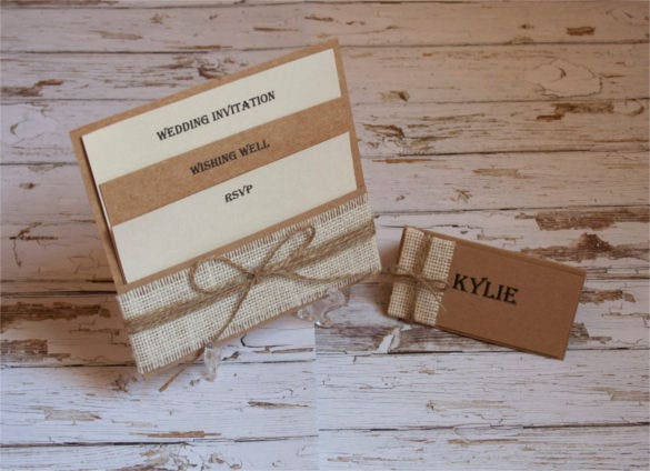 rustic burlap pocket wedding invitation set1
