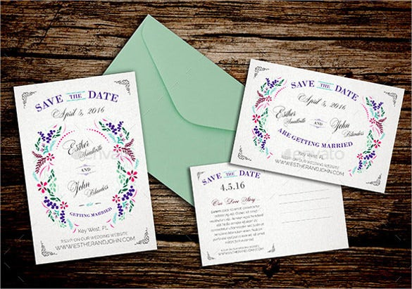 Save the date postcard template 25 free psd vector eps ai save the date postcard template for spring wedding pronofoot35fo Gallery