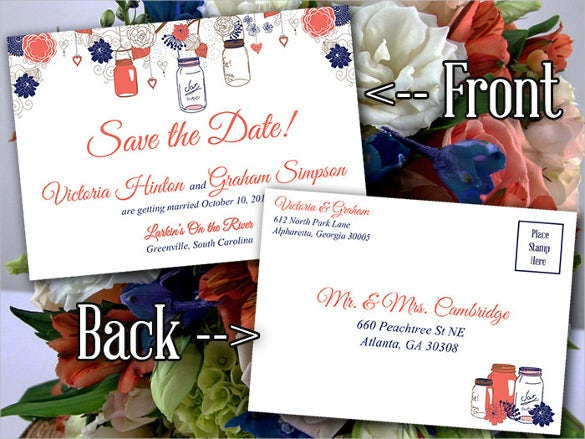 mason jar save the date postcard template