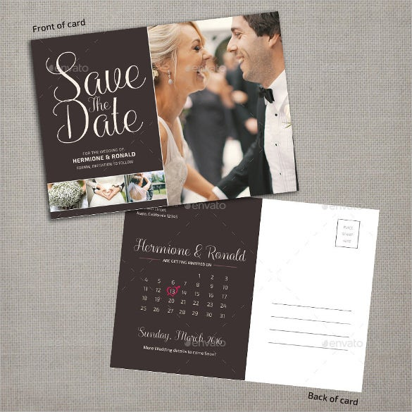 save the date calendar postcard template