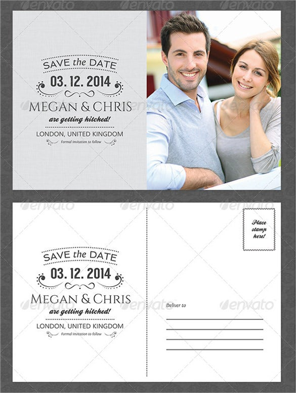 grey easy to customize save the date postcard