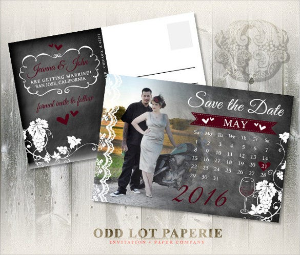 printable save the date with postcard template with photos
