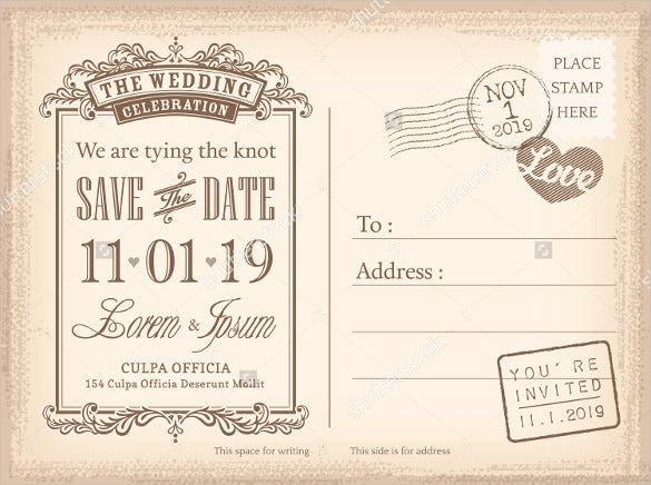Save The Date Postcard Template 25 Free PSD Vector EPS AI – Wedding Save the Date Postcards
