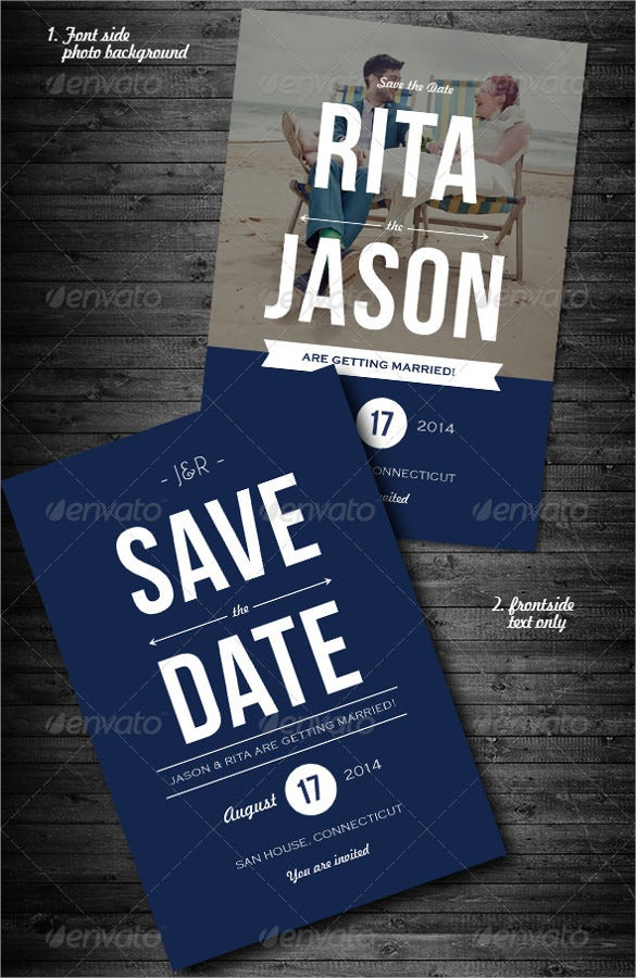 blue with custom photograph save the date invitation card template