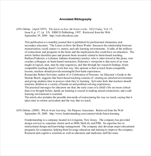 annotated bibliography example apa format Some of your courses will require you to write an annotated bibliography reference each source in apa format view a sample.
