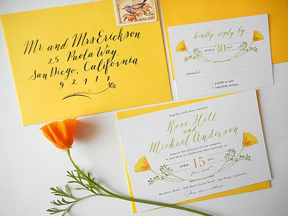 california poppy calligraphy wedding invitation suite