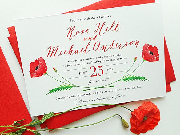 red poppy calligraphy wedding invitation suite