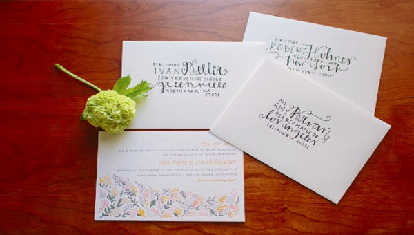addressing wedding invitation
