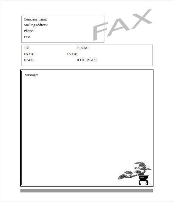 download blank bonsai tree fax cover sheet for free