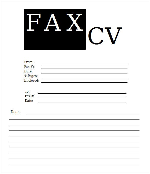 cv fax cover sheet template blank template download