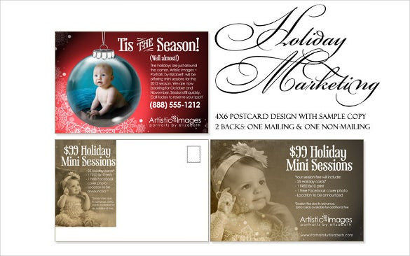 holiday marketing kit 4x6 postcard design