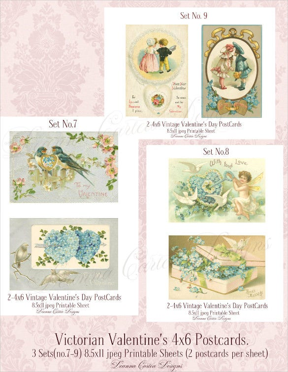 valentines day victorian postcard template