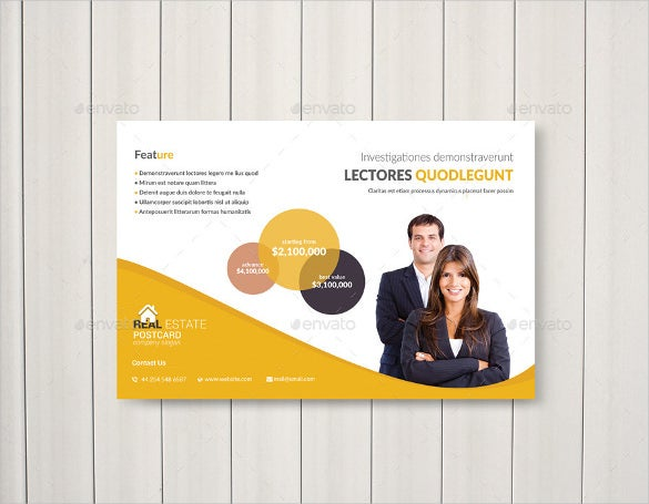 real estate business postcard template