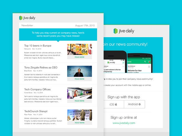 jive daily newsletter and invite email template
