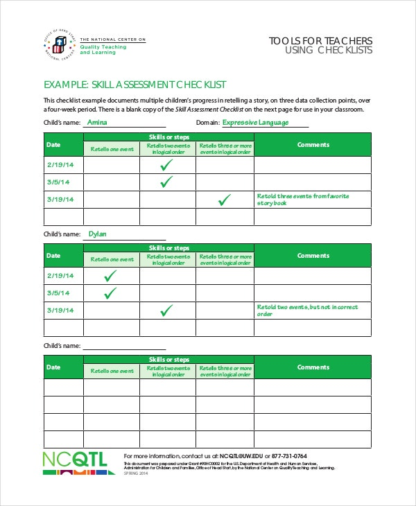 Skill Assessment Checklist Template For Teachers