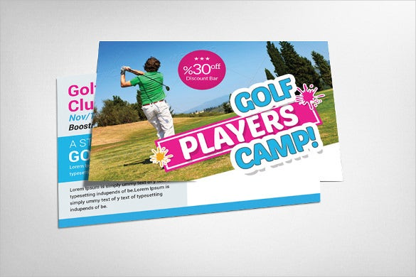 golf club postcard template to download