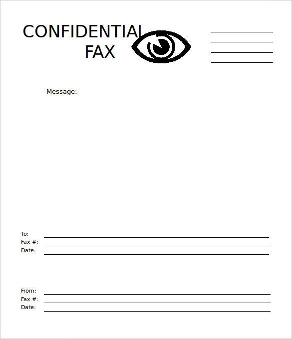 Confidential Eye Fax Cover Sheet Template Free Printable  Free Cover Sheet