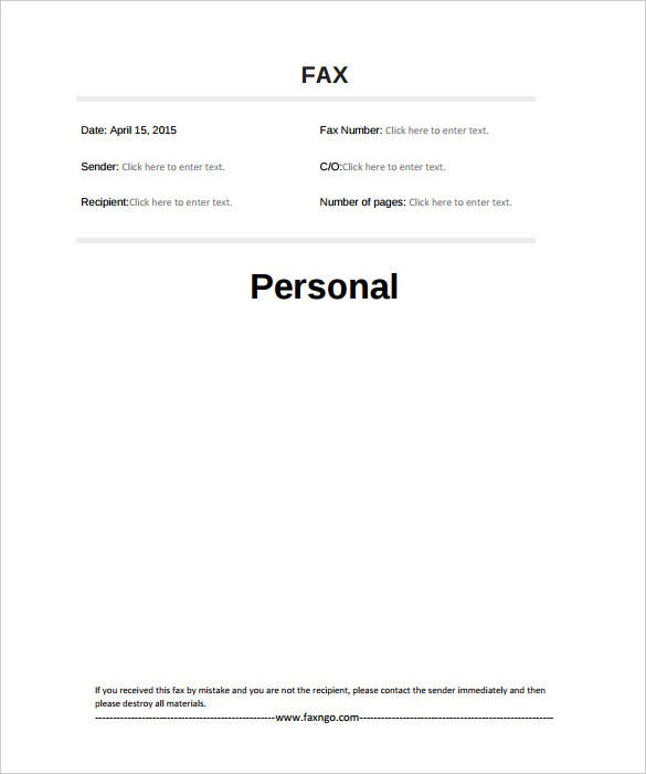 personal fax cover sheet template pdf printable sample