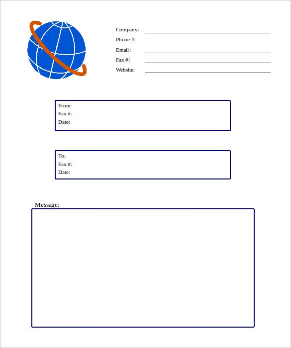 globe simple fax cover sheet template free sample