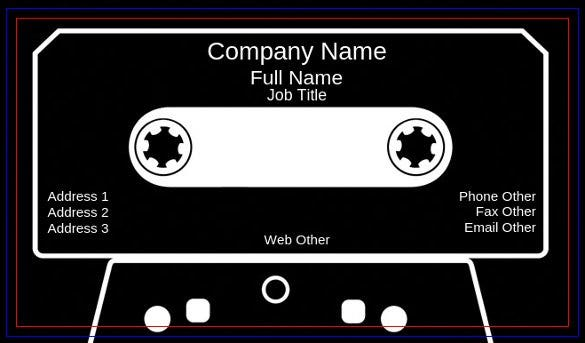 cassette tape business card template free download1