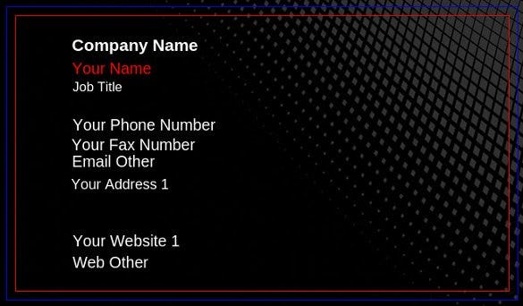 customize blank businees card template free online