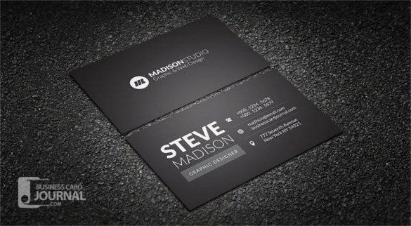 dark minimal typography business card template psd