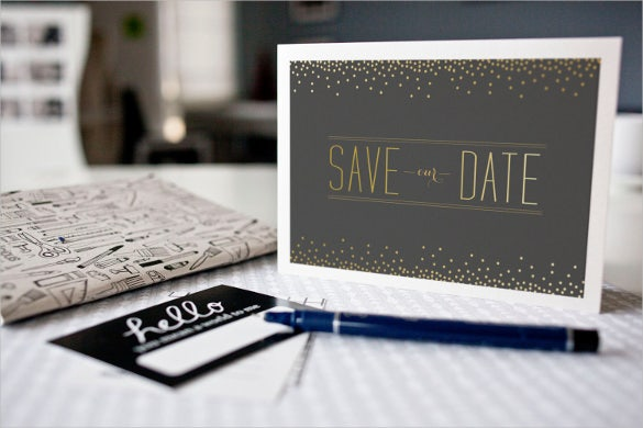 gold faux save the date – printable postcard template