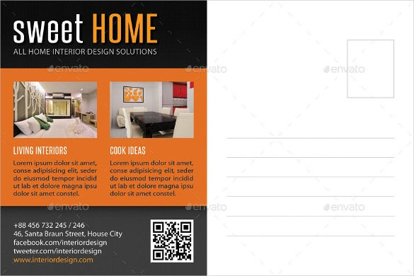 interior design postcard template download