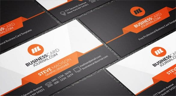 stylish orange accent business card template free